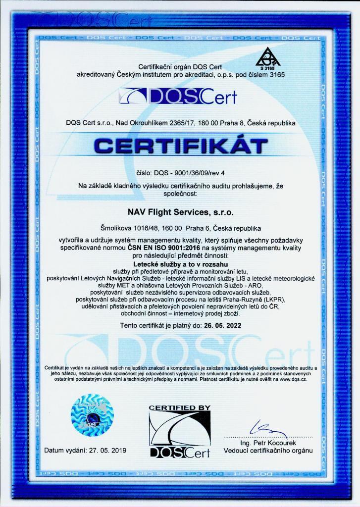 ISO certifikat NAV Letecke sluzby 2019_2022